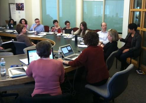 SJN's Liza Gross and Tina Rosenberg lead a staff workshop at The Globe.